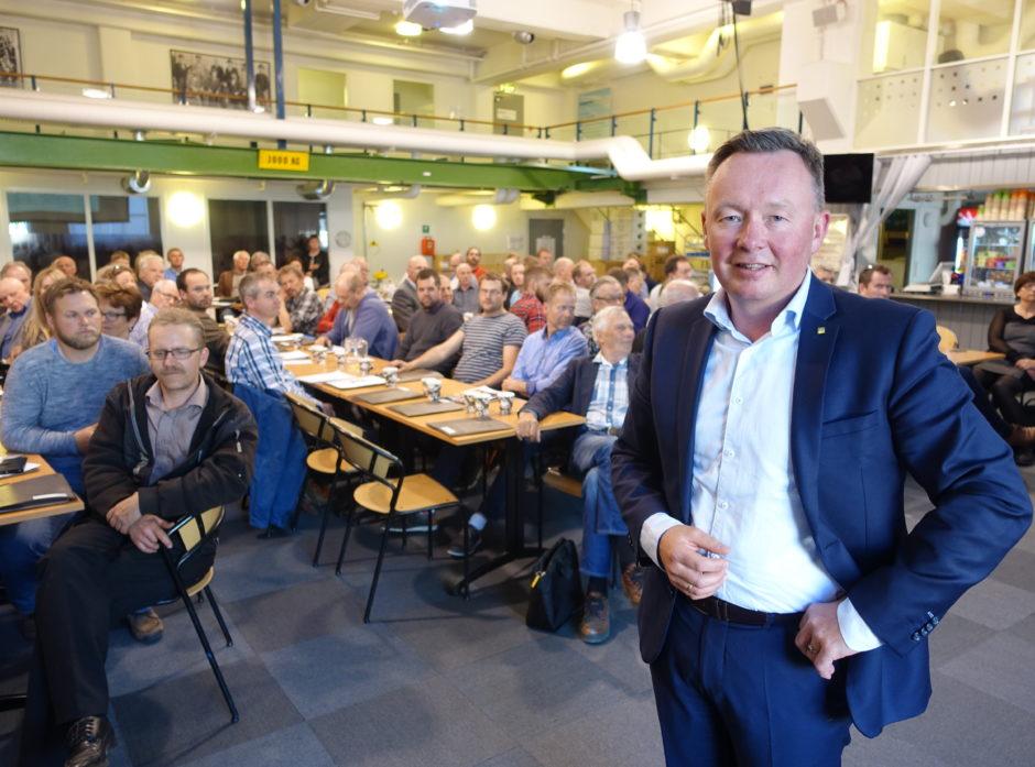 Olav A Veum er styreleder i AT Skog. Bildet er fra årsmøtet i 2017.