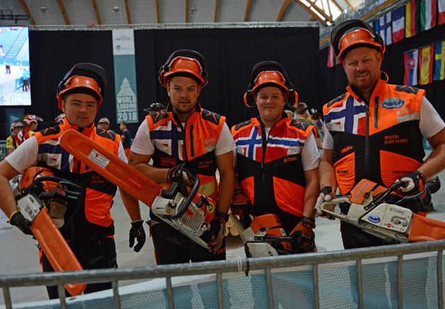 Det norske stafettlaget: Sivert Lindstad (f.v.); Ole Harald Løvenskiold Kveseth; Kristoffer Lund og Øystein Koht-Nordbye.