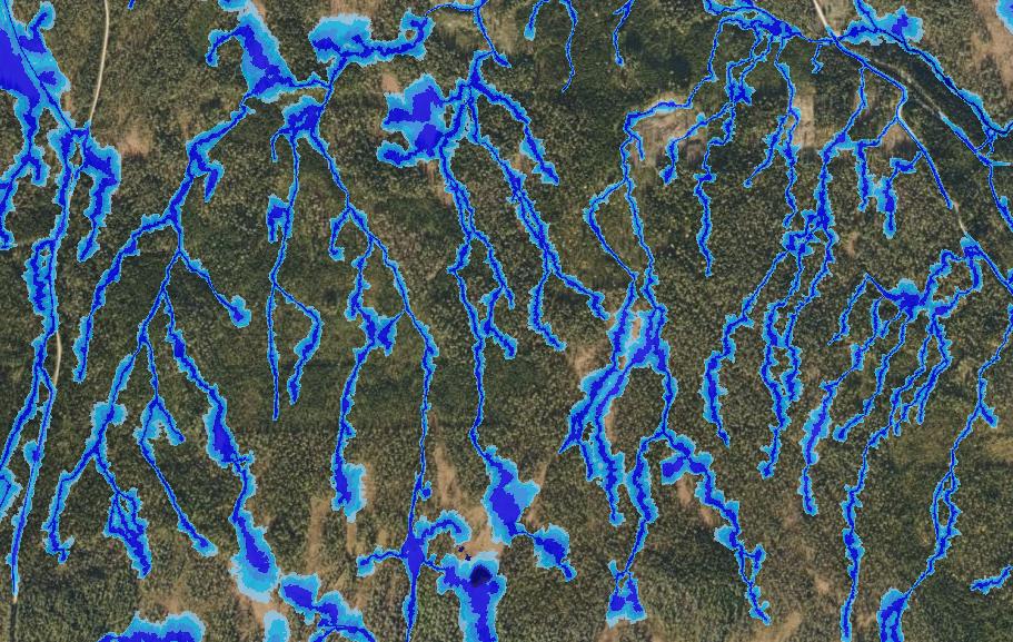 Markfuktighetskartet viser hvor det er størst fare for kjørespor ved skogsdrift.