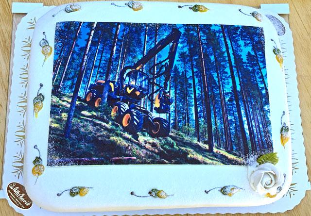 Vedtaket i  Trøndelag fylkeskommune ble feiret med hogstmaskin-kake.