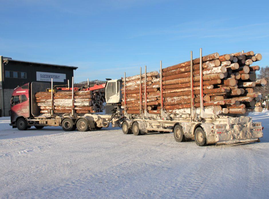 Sjuakslet tømmervogntog med 60 tonn totalvekt.