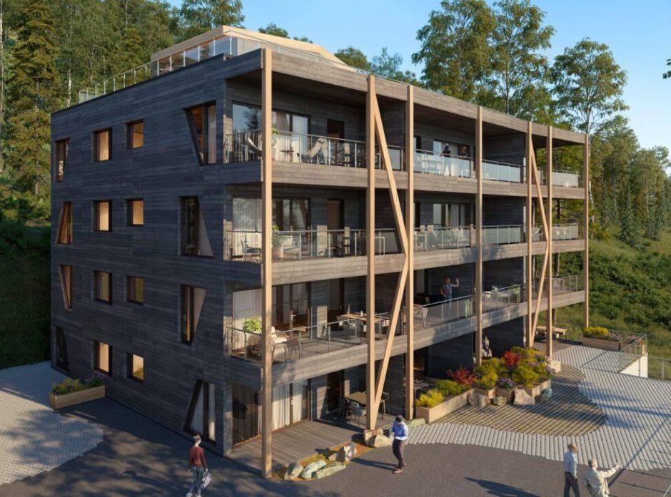 Støren Treindustri AS jobber med å kunne bygge leilighetsbygg i massivtre i åtte etasjer. Foto: Støren Treindustri AS
